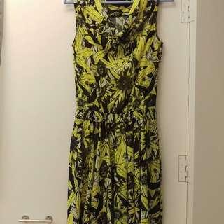 MOMA洋裝 雪紡洋裝 黃色 時尚亮麗 34號 附可調長版內搭