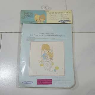 NEW Carni Precious Moments Do It Yourself DIY Cross Stitch Kit With Printed Background Girl And Boy Swing XKPM88-004 NIP