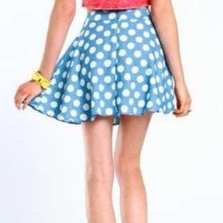 Love Culture Light Blue Polka Dot Circle Skirt