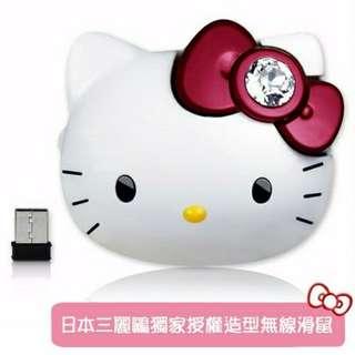Hello Kitty-頭型2.4G無線滑鼠-晶鑽紅結
