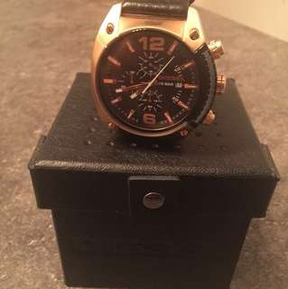 Diesel RoseGold with Genuine Black Leather Men's Watch