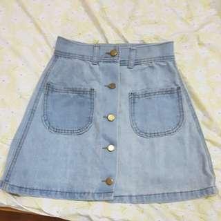 Light Denim Button Down Skirt