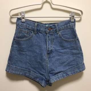 復古藍高腰牛仔短褲