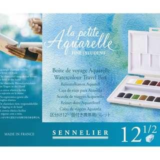 Sennelier La Petite Aquarelle Fine Student Travel Box - 12 Half Pans