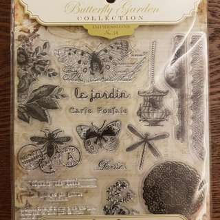 Pink paisley clear stamp ~ butterfly garden