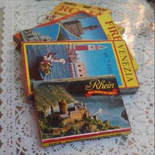 Vintage European Postcard Booklets & Roma Map