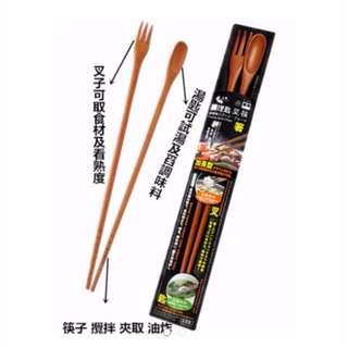 宅配免運費調理匙叉筷一筷3用台灣製造