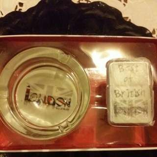British Ashtray and Lighter Set
