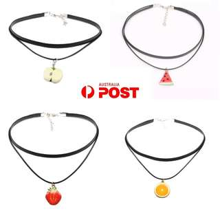 Womens Fruit Choker Necklaces Velvet Leather Fashion Jewelry Waterelon Orange Apple Strawberry