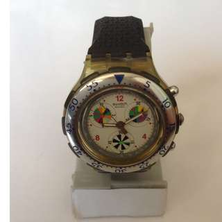 Authentic Swatch Chronograph Watch With Black Rubber Strap