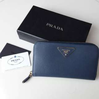 Prada Long Zippy Wallet in Blue