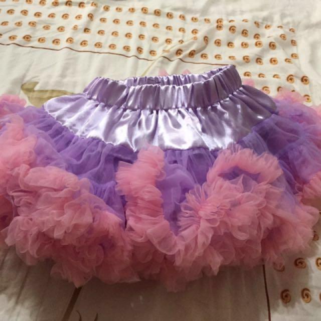 女寶90cm蓬裙(紫配粉色)