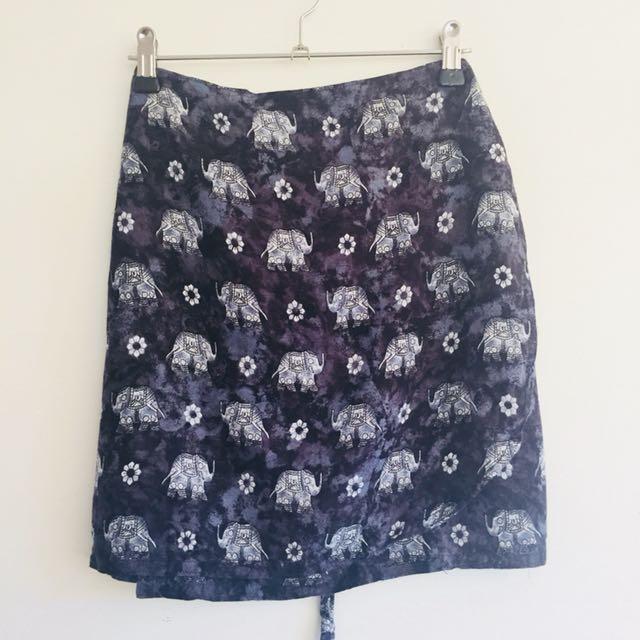90s Elephant Print Wrap Skirt