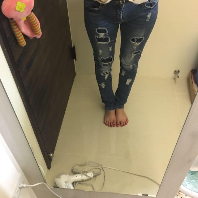 二手)破長褲,後面有口袋