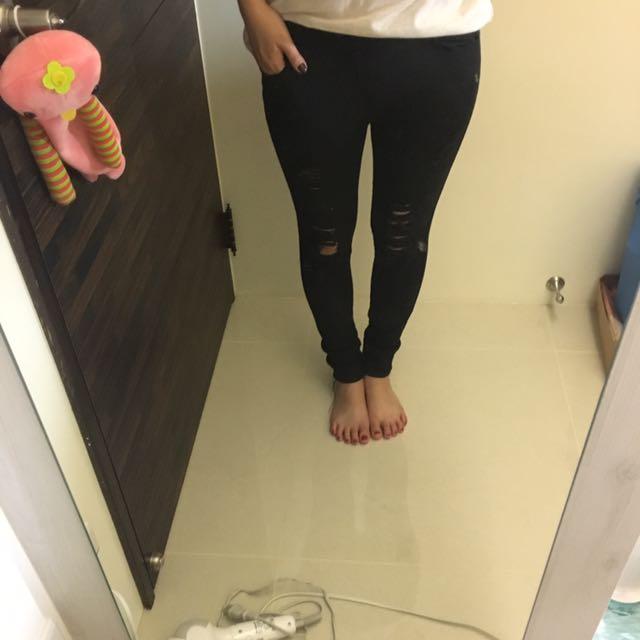 二手)黑色破褲