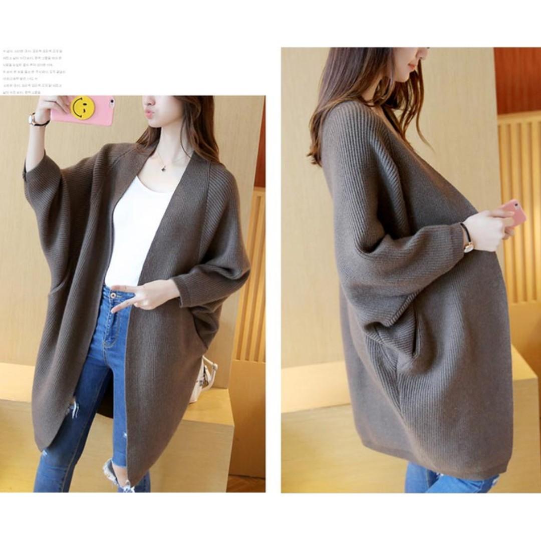 韓國顯瘦修飾蝙蝠袖中長款針織毛衣外套