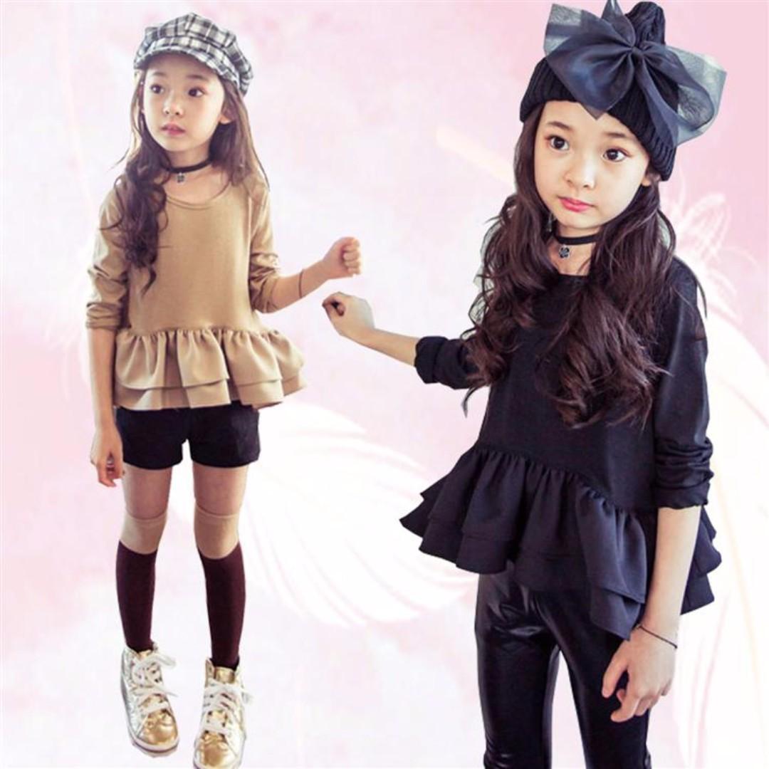 韓系女童百搭收腰荷葉裙擺上衣