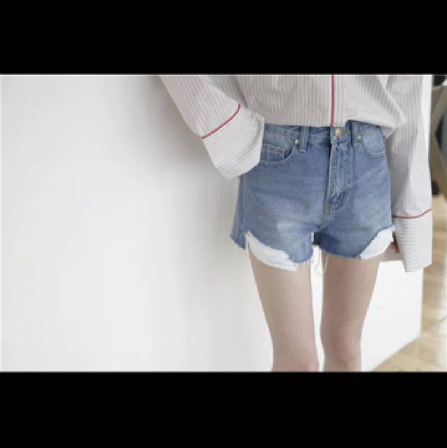 顯瘦高腰水洗不規則牛仔短褲