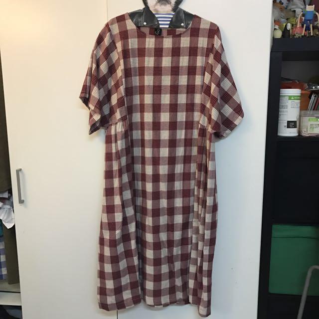 古著格紋寬鬆洋裝