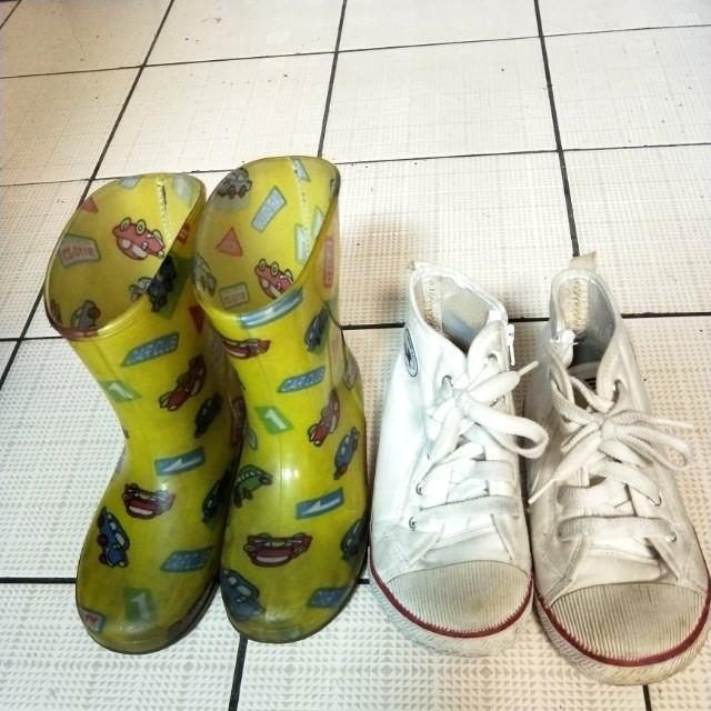 汽車雨鞋,白色高筒平底鞋,兩雙50