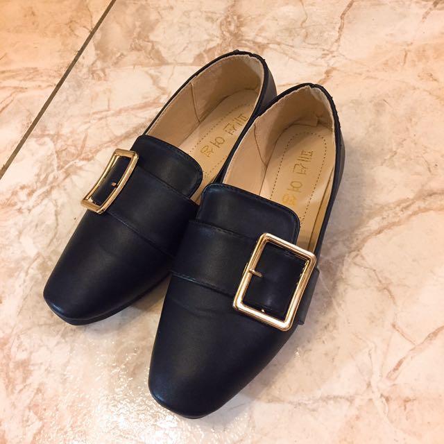 韓版方釦樂福小皮鞋