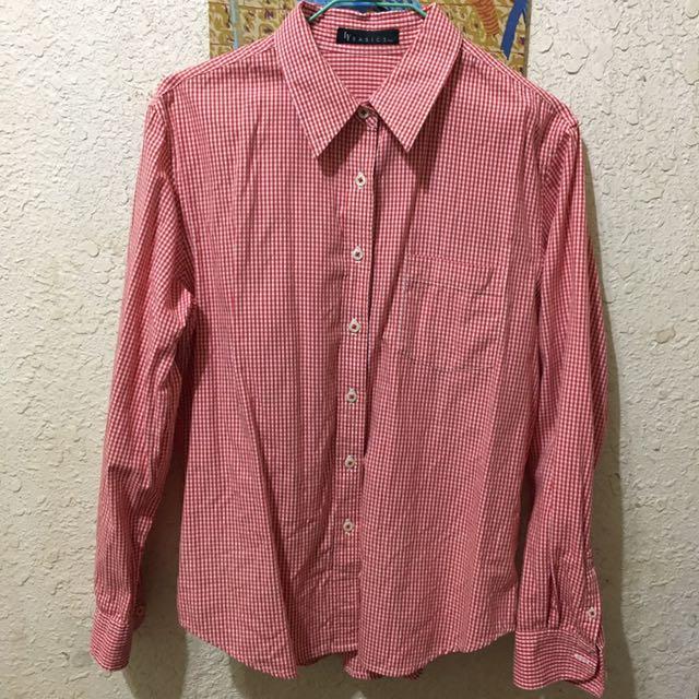 格紋長袖襯衫-紅色