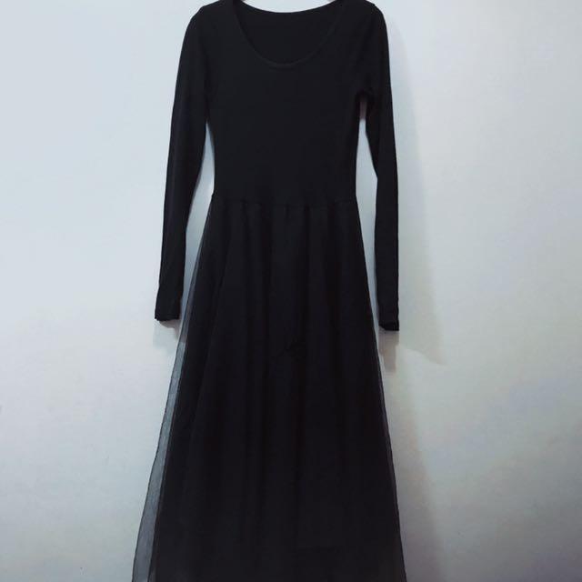 個性拼接長版紗裙