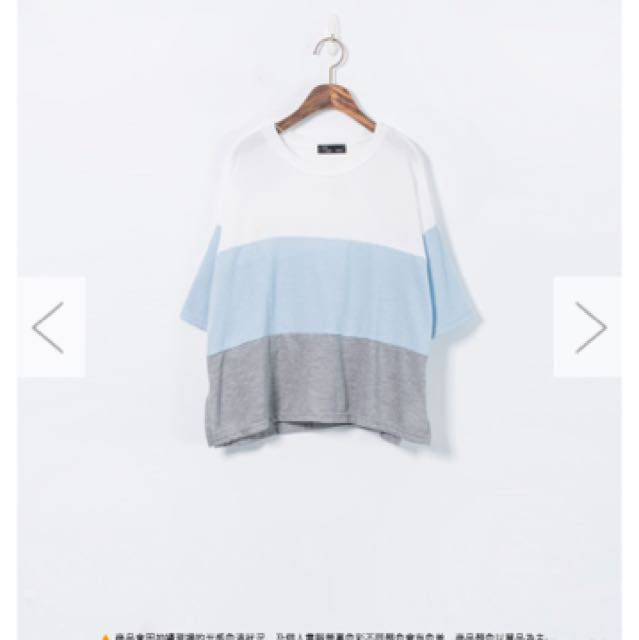 簡約三配色毛巾料圓領上衣 白藍灰