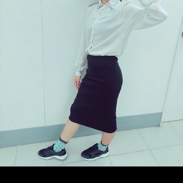 針織窄裙 -黑色