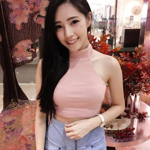 短款削肩高領背心 粉色