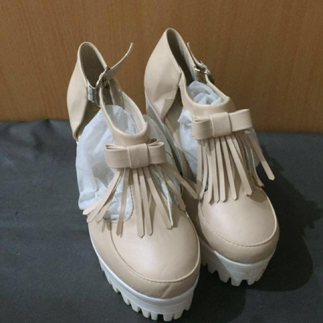 韓貨 厚底流蘇粉色涼鞋