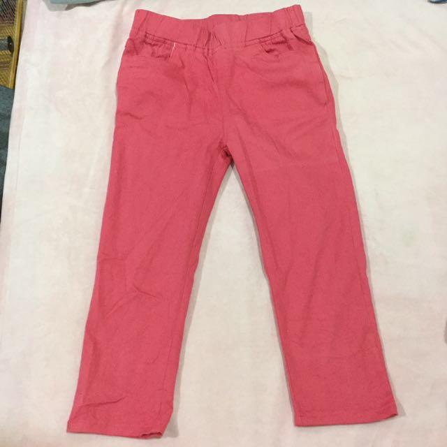 桃紅色七分褲 有口袋