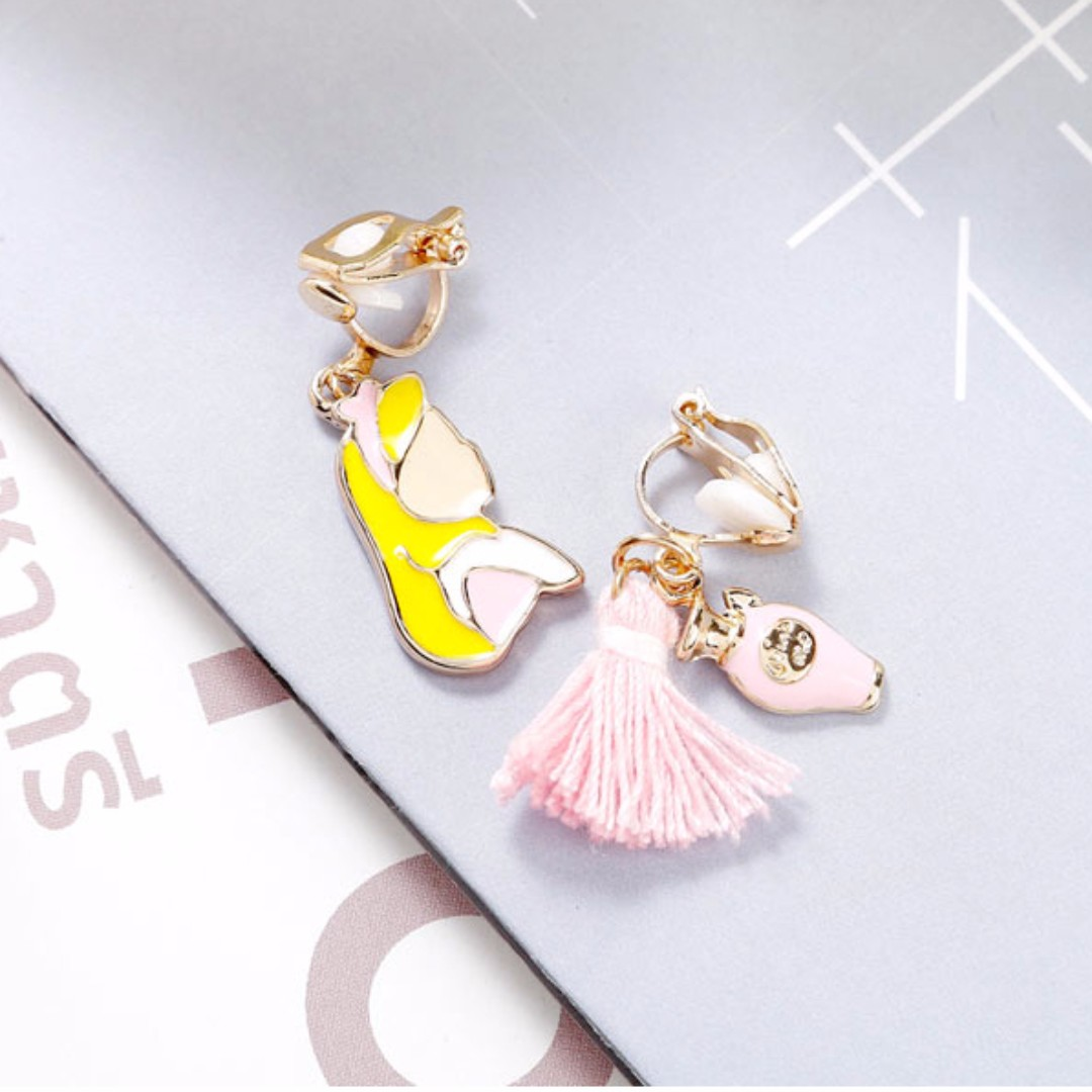 兩件優惠🎉 兩色 可愛 甜美 韓風 韓款 童話 愛麗絲 無耳洞 夾式耳環