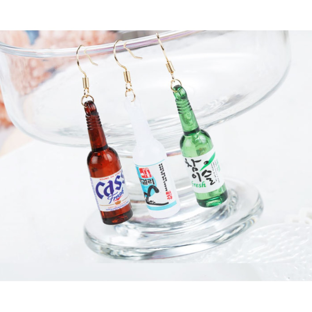 兩件優惠🎉多款 趣味 可愛 韓風 韓款 燒酒 啤酒 造型 防敏鋼針耳環