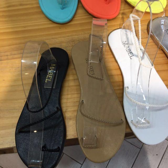 全新轉賣 korea 正韓編織涼鞋 線條涼鞋黑 23