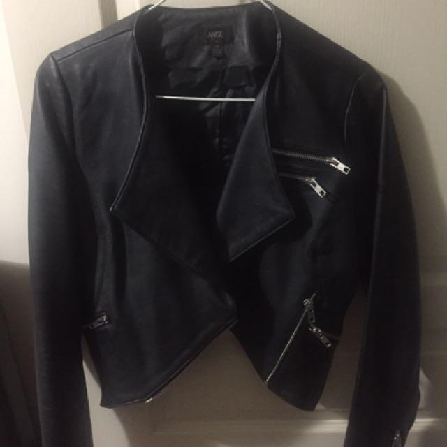 Anise Black Cropped Leather Jacket