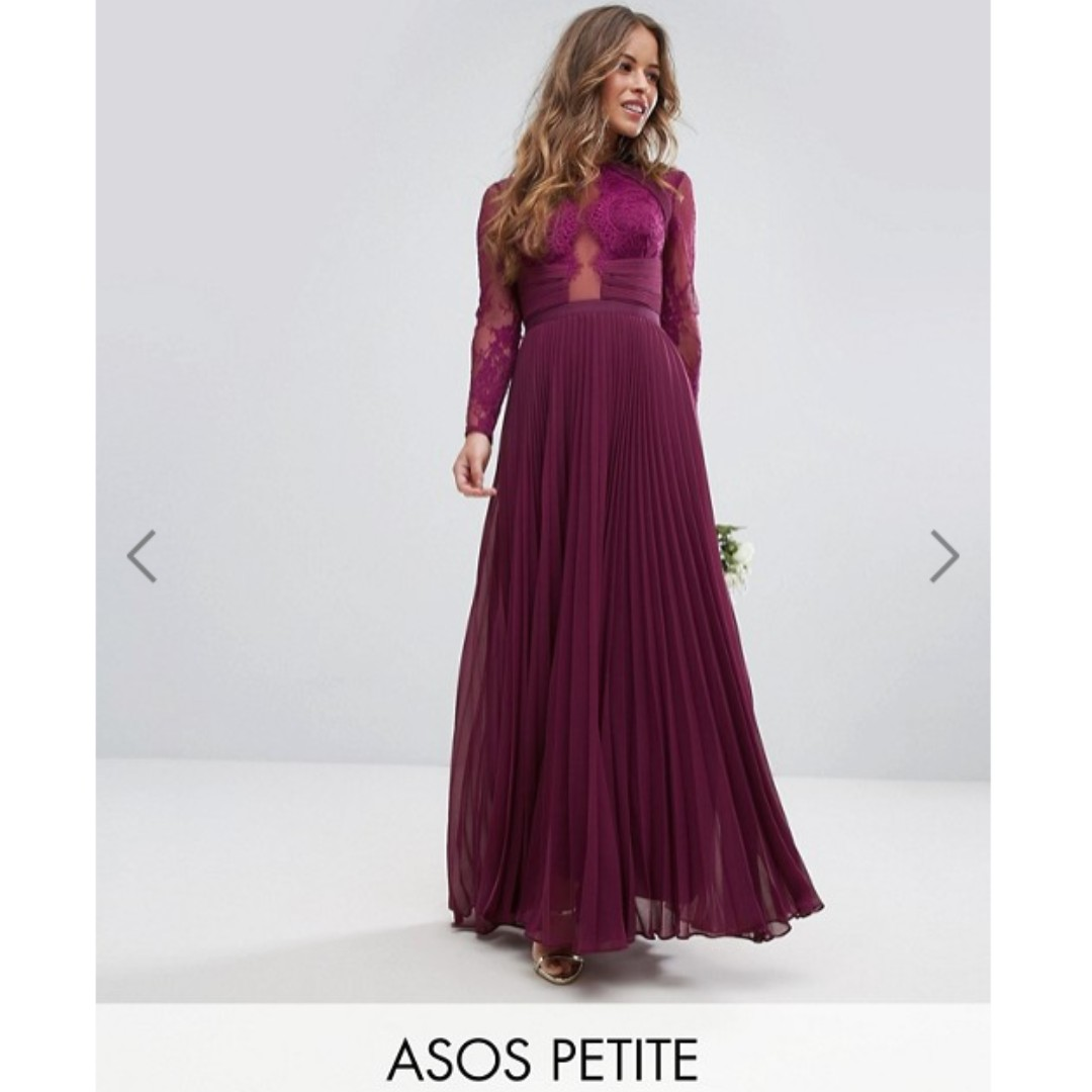 a99dcc66e ASOS PETITE WEDDING Pretty Lace Eyelash Pleated Maxi Dress in Wine, UK10,  Women's Fashion, Clothes, Dresses & Skirts on Carousell