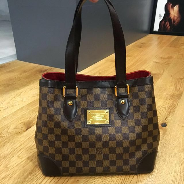 7f43307b27ea Authentic Louis Vuitton Damier Ebene Hampstead PM Shoulder Bag ...