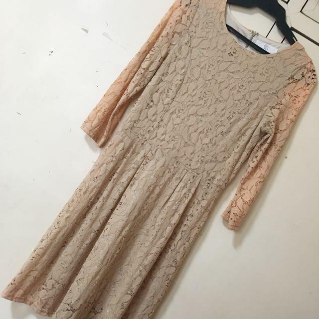 Beige Lace Bayo Dress