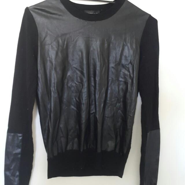 Black leather patch jumper