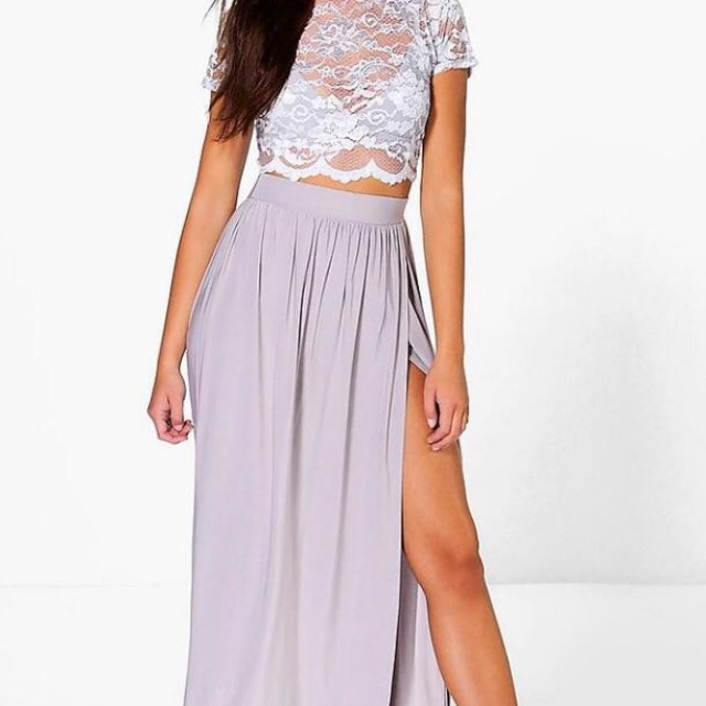 brand new kelre lace crop bralet and maxi skirt co-ord grey size 10
