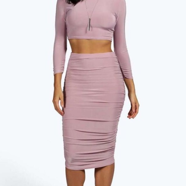 brand new suvi rouched aleeve midi skirt co-ord mauve size 8 womens clothes