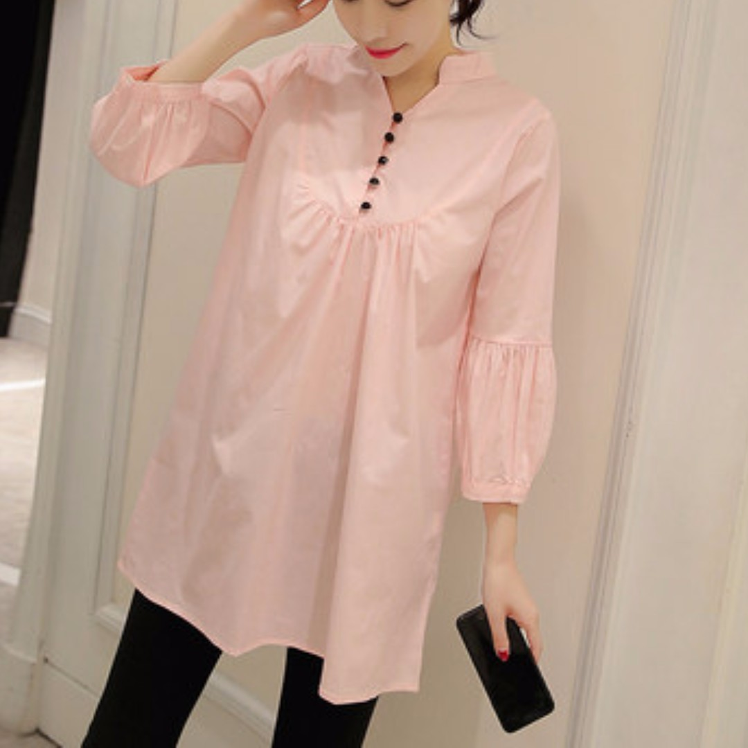 5a139d0ffa8 Brand New  Trendy Button Pink Long Sleeve Maternity Dress