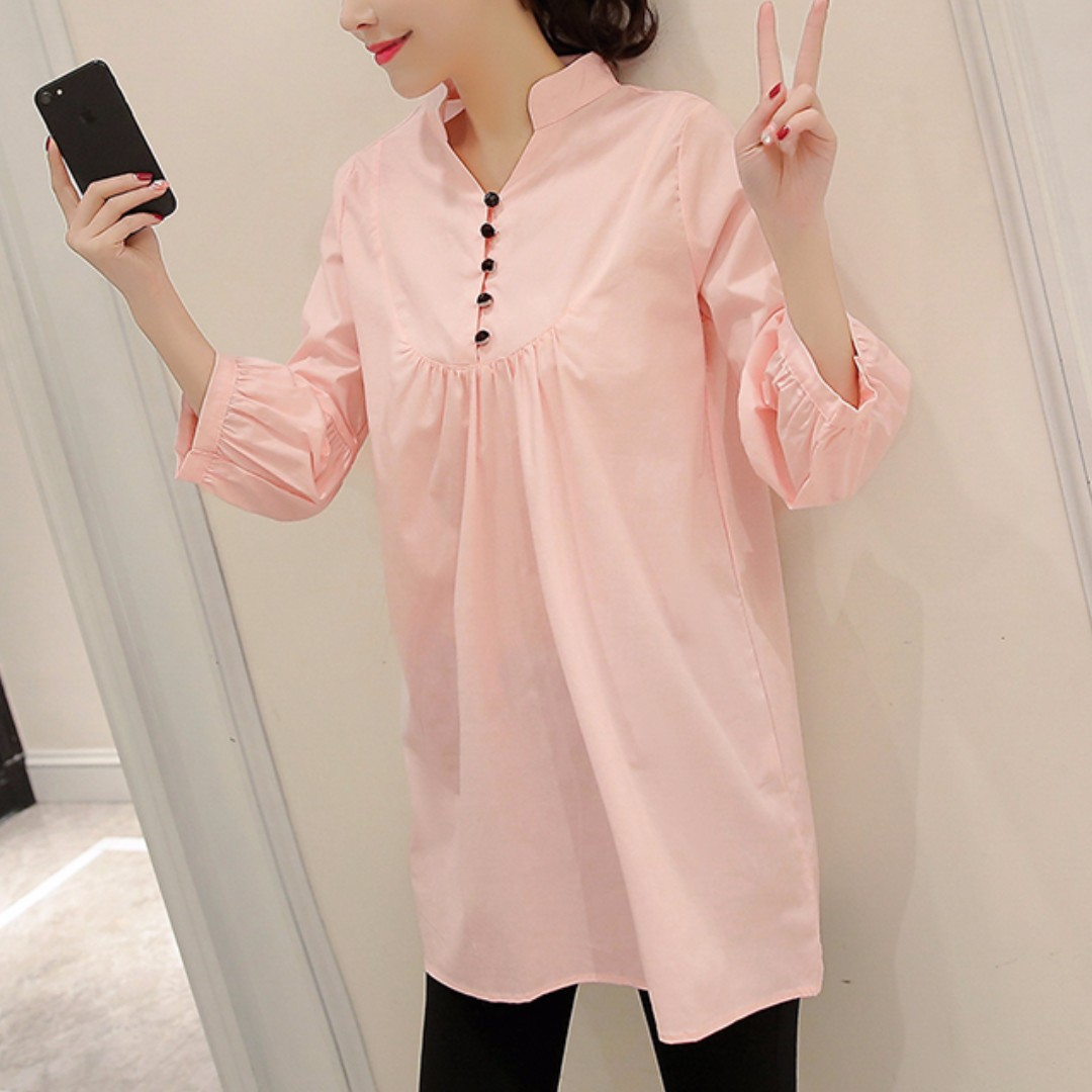 ac407359922  Brand New  Trendy Button Pink Long Sleeve Maternity Dress
