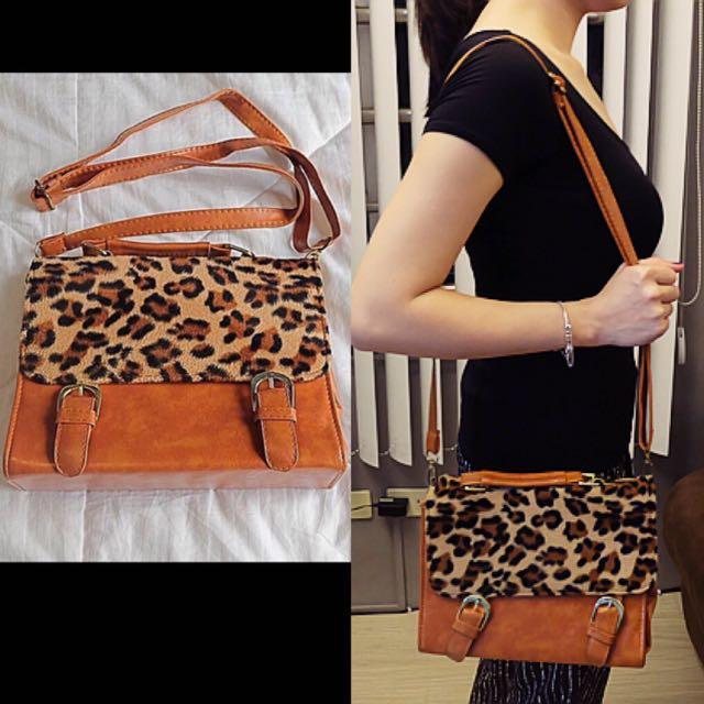 Brown Sling Bag Leopard Print