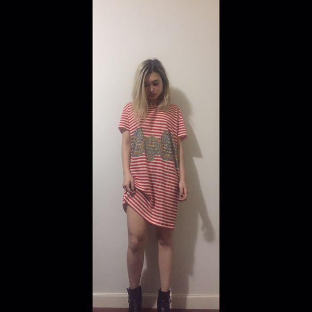 Carven Striped T-shirt Dress