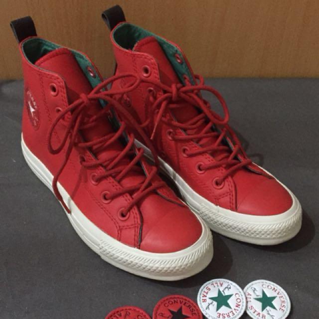 正版Converse 紅色皮 中筒靴 logo可替換