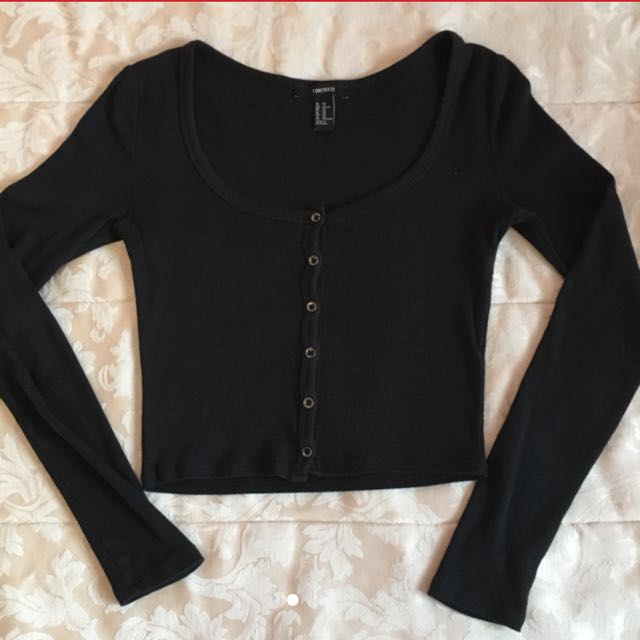 Cropped ribbed button up long sleeve