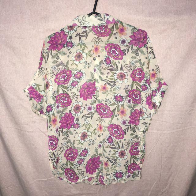 Floral blouse (L) silk