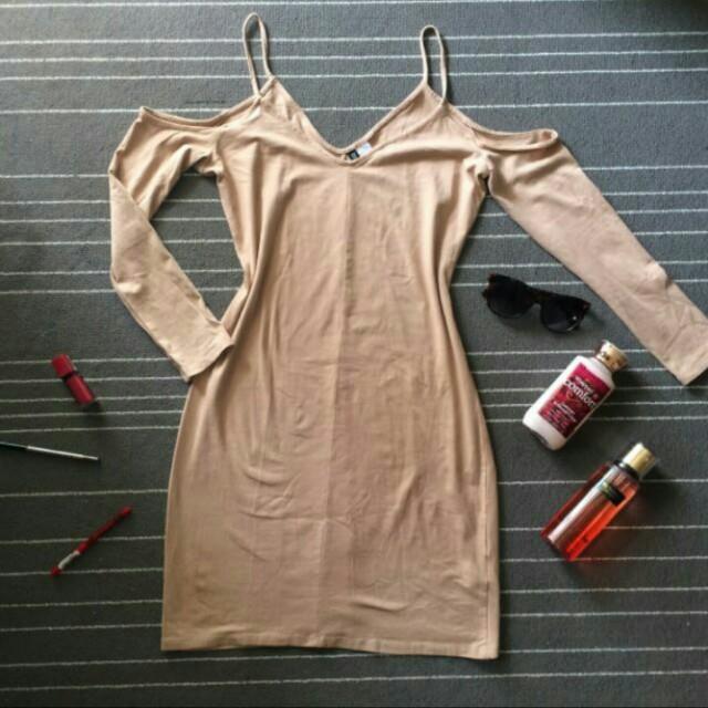 H&M Nude Cold Shoulder Dress